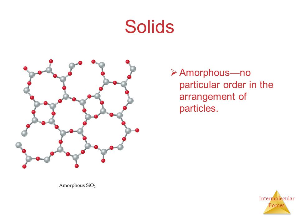 Intermolecular Forces Solids  Amorphous—no particular order in the arrangement of particles.