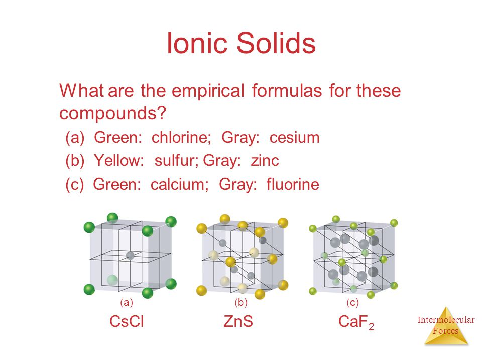 Intermolecular Forces Ionic Solids What are the empirical formulas for these compounds? (a) Green: chlorine; Gray: cesium (b) Yellow: sulfur; Gray: zi