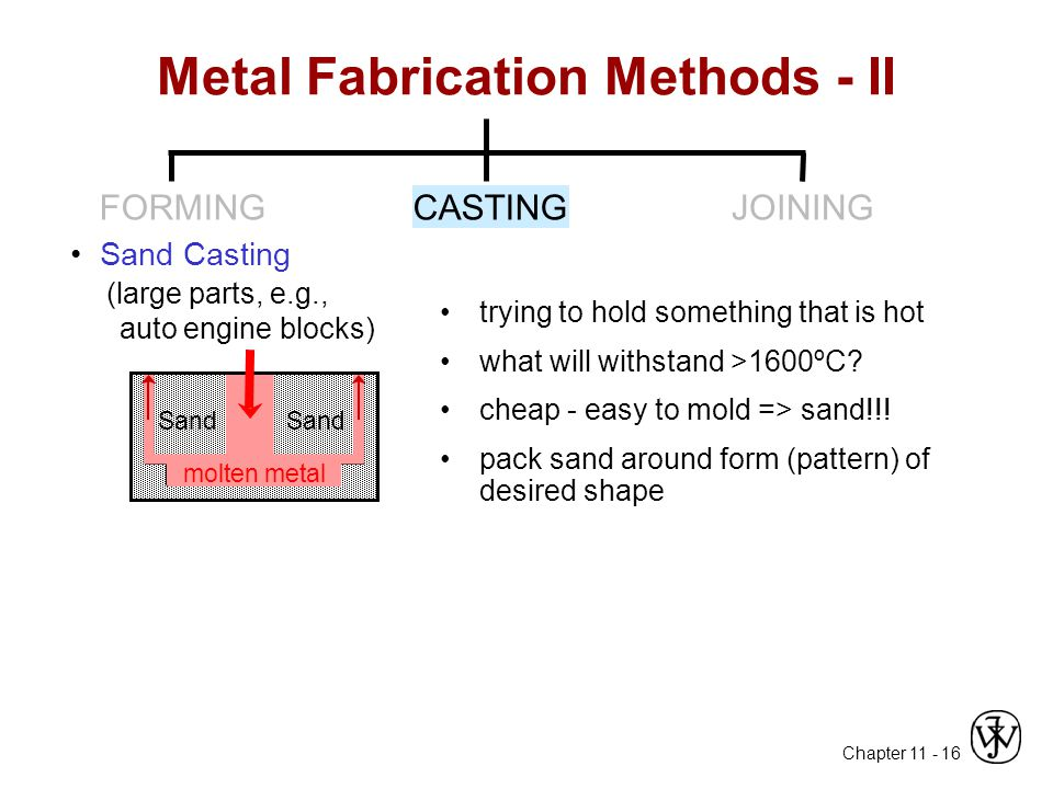 Chapter 11 - 16 Sand Casting (large parts, e.g., auto engine blocks) Metal Fabrication Methods - II trying to hold something that is hot what will withstand >1600ºC.