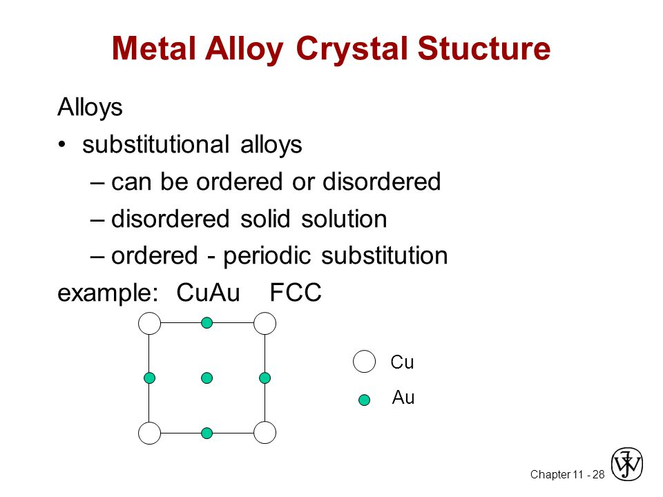 Chapter 11 - 28 Metal Alloy Crystal Stucture Alloys substitutional alloys –can be ordered or disordered –disordered solid solution –ordered - periodic substitution example: CuAu FCC Cu Au