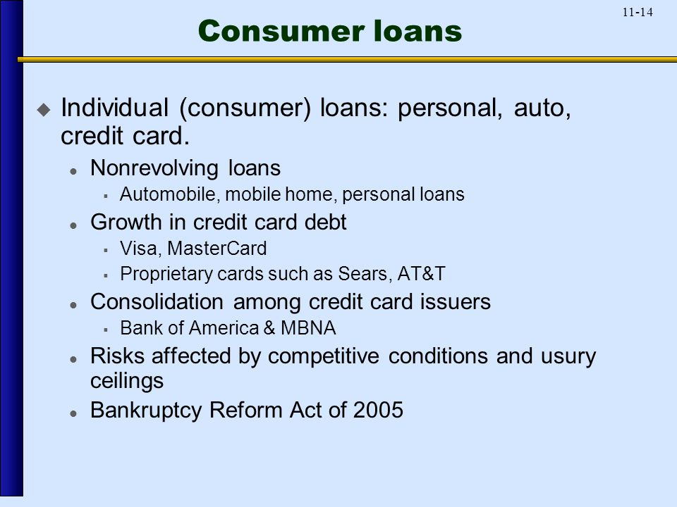 11-14 Consumer loans  Individual (consumer) loans: personal, auto, credit card.