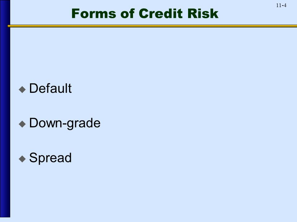 11-4 Forms of Credit Risk  Default  Down-grade  Spread