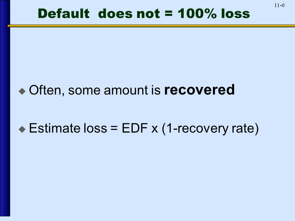 11-6 Default does not = 100% loss  Often, some amount is recovered  Estimate loss = EDF x (1-recovery rate)