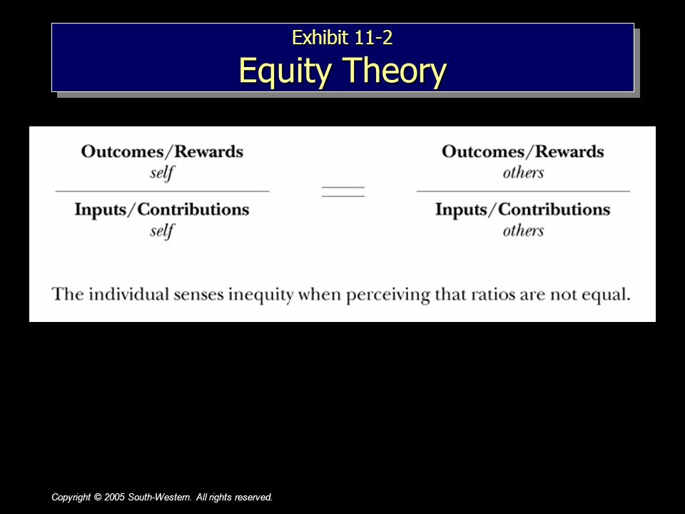 Copyright © 2005 South-Western. All rights reserved.1–71–7 Exhibit 11-2 Equity Theory