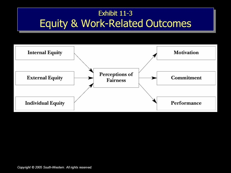 Copyright © 2005 South-Western. All rights reserved.1–81–8 Exhibit 11-3 Equity & Work-Related Outcomes