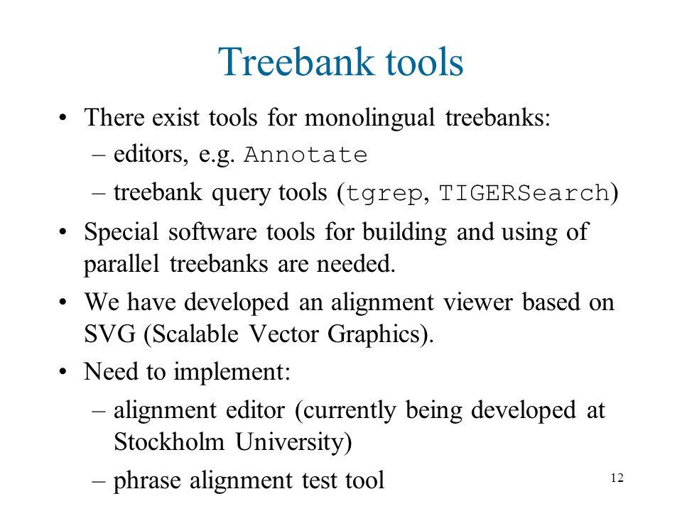 12 Treebank tools There exist tools for monolingual treebanks: –editors, e.g.