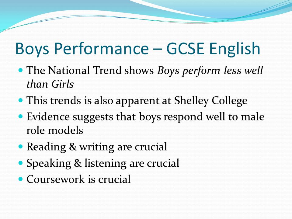 Boys Performance – GCSE English The National Trend shows Boys perform less well than Girls This trends is also apparent at Shelley College Evidence suggests that boys respond well to male role models Reading & writing are crucial Speaking & listening are crucial Coursework is crucial