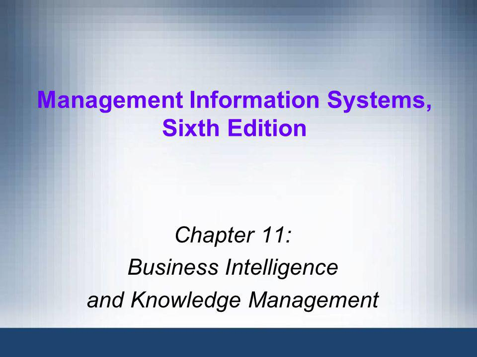 Management Information Systems, Sixth Edition12 Online Analytical Processing Online analytical processing (OLAP): a type of application used to exploit data warehouses –Provides extremely fast response times –Allows a user to view multiple combinations of two dimensions by rotating virtual cubes of information Drilling down: the process of starting with broad information and then retrieving more specific information as numbers or percentages Can use relational or dimensional databases designed for OLAP applications