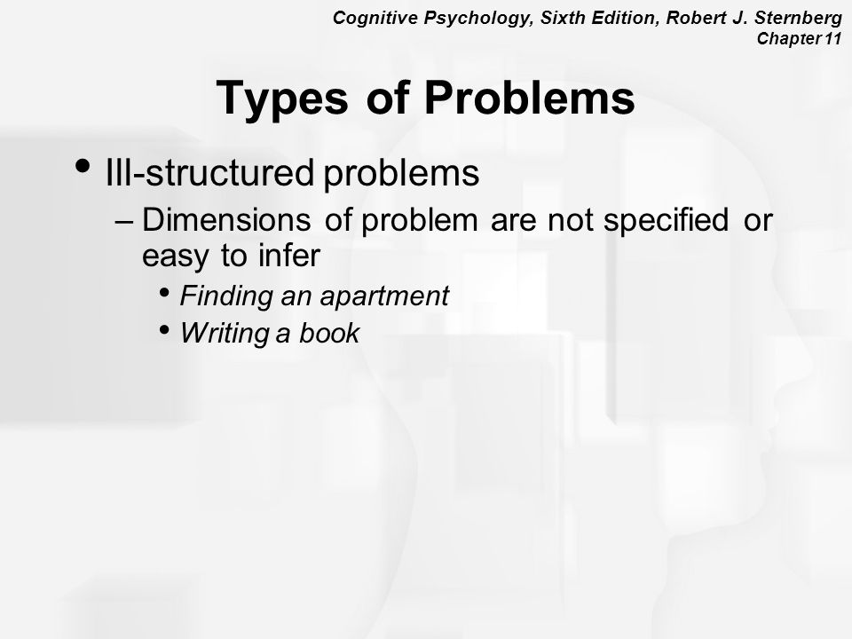Cognitive Psychology, Sixth Edition, Robert J. Sternberg Chapter 11 Types of Problems Ill-structured problems –Dimensions of problem are not specified