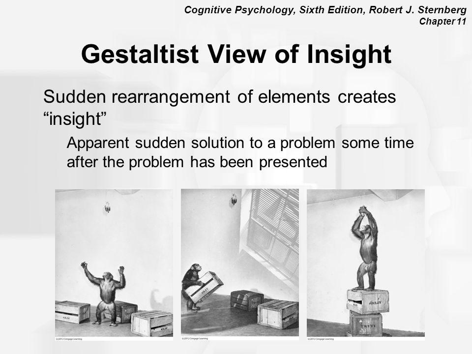 "Cognitive Psychology, Sixth Edition, Robert J. Sternberg Chapter 11 Gestaltist View of Insight Sudden rearrangement of elements creates ""insight"" Appa"