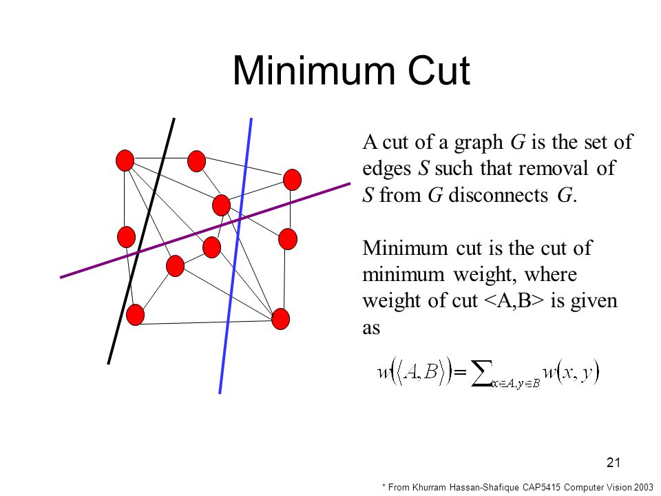21 Minimum Cut A cut of a graph G is the set of edges S such that removal of S from G disconnects G.