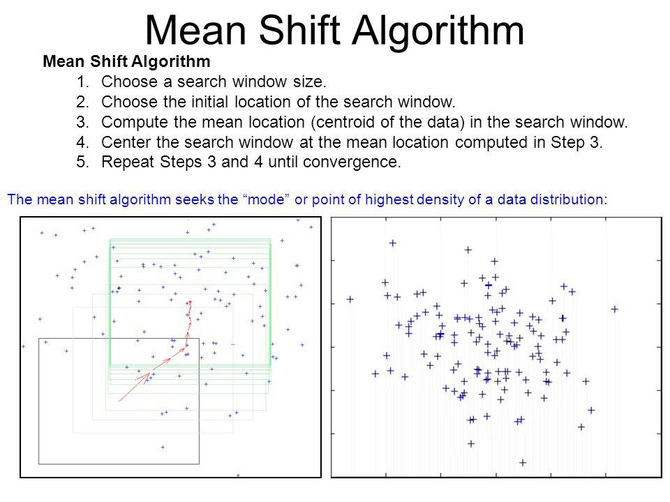 47 Mean Shift Algorithm 1.Choose a search window size.
