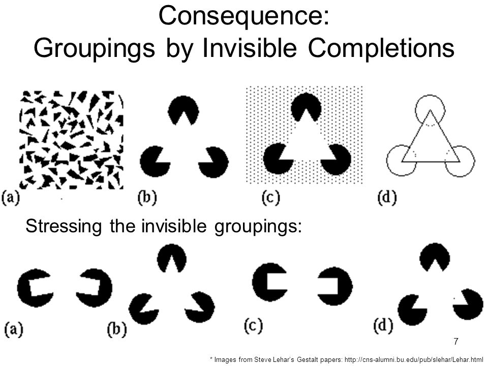 8 Consequence: Groupings by Invisible Completions * Images from Steve Lehar's Gestalt papers: http://cns-alumni.bu.edu/pub/slehar/Lehar.html
