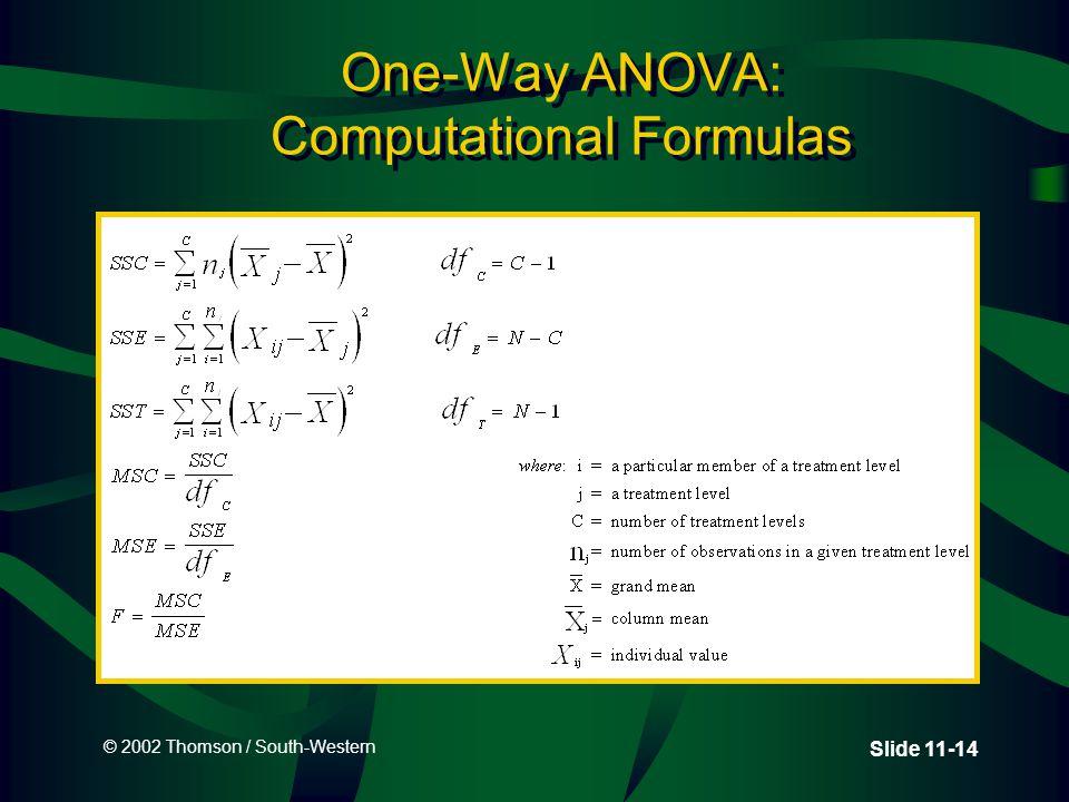 © 2002 Thomson / South-Western Slide 11-14 One-Way ANOVA: Computational Formulas
