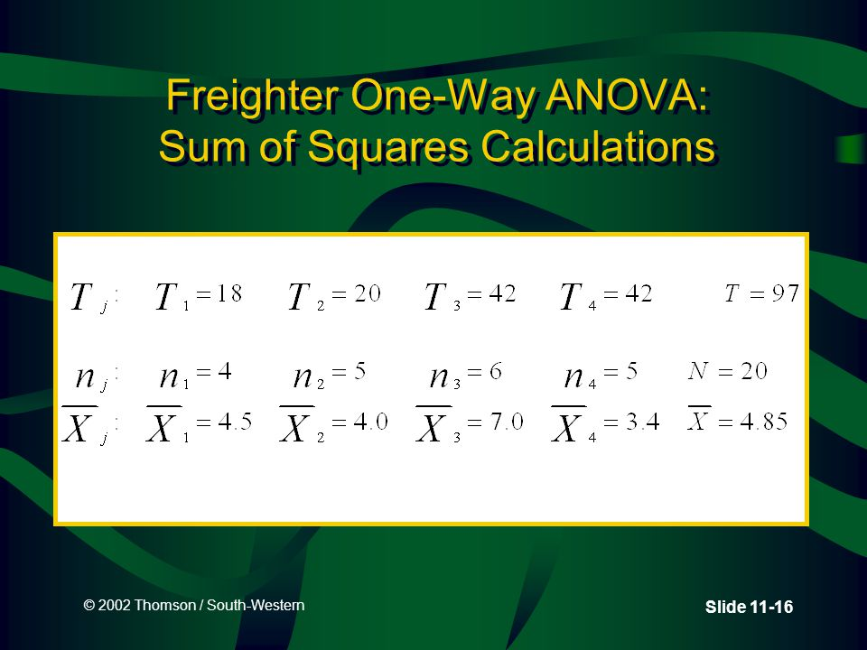 © 2002 Thomson / South-Western Slide 11-16 Freighter One-Way ANOVA: Sum of Squares Calculations