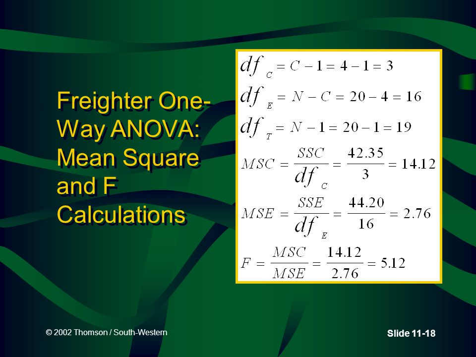 © 2002 Thomson / South-Western Slide 11-18 Freighter One- Way ANOVA: Mean Square and F Calculations
