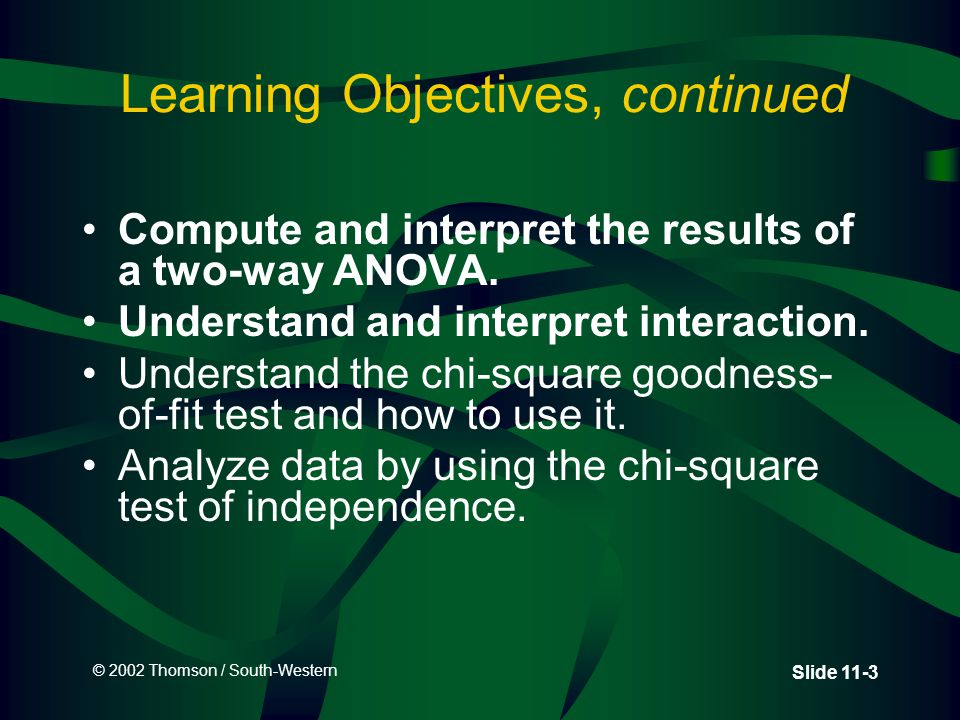 © 2002 Thomson / South-Western Slide 11-44 CEO Dividend 2  3 Factorial Design: Data and Measurements N = 24 n = 4 X=2.7083 1.752.753.625 Location Where Company Stock is Traded How Stockholders are Informed of Dividends NYSEAMEXOTC Annual/Quarterly Reports 21212121 23322332 43434343 2.5 Presentations to Analysts 23122312 33243324 44344434 2.9167 XjXj XiXi X 11 =1.5 X 23 =3.75X 22 =3.0X 21 =2.0 X 13 =3.5X 12 =2.5