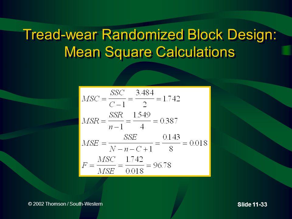 © 2002 Thomson / South-Western Slide 11-33 Tread-wear Randomized Block Design: Mean Square Calculations