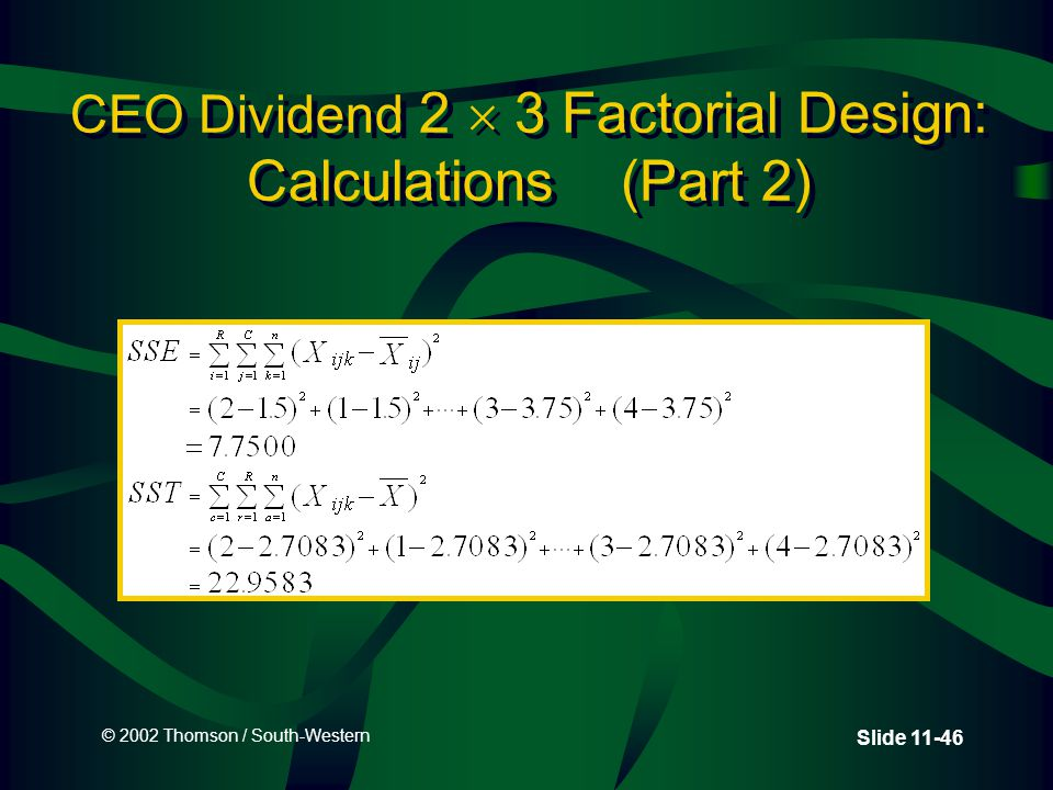 © 2002 Thomson / South-Western Slide 11-46 CEO Dividend 2  3 Factorial Design: Calculations (Part 2)