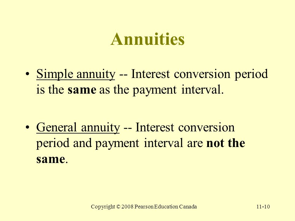 Copyright © 2008 Pearson Education Canada11-10 Annuities Simple annuity -- Interest conversion period is the same as the payment interval.