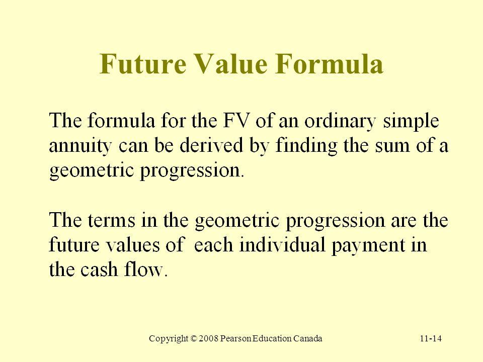 Copyright © 2008 Pearson Education Canada11-14 Future Value Formula