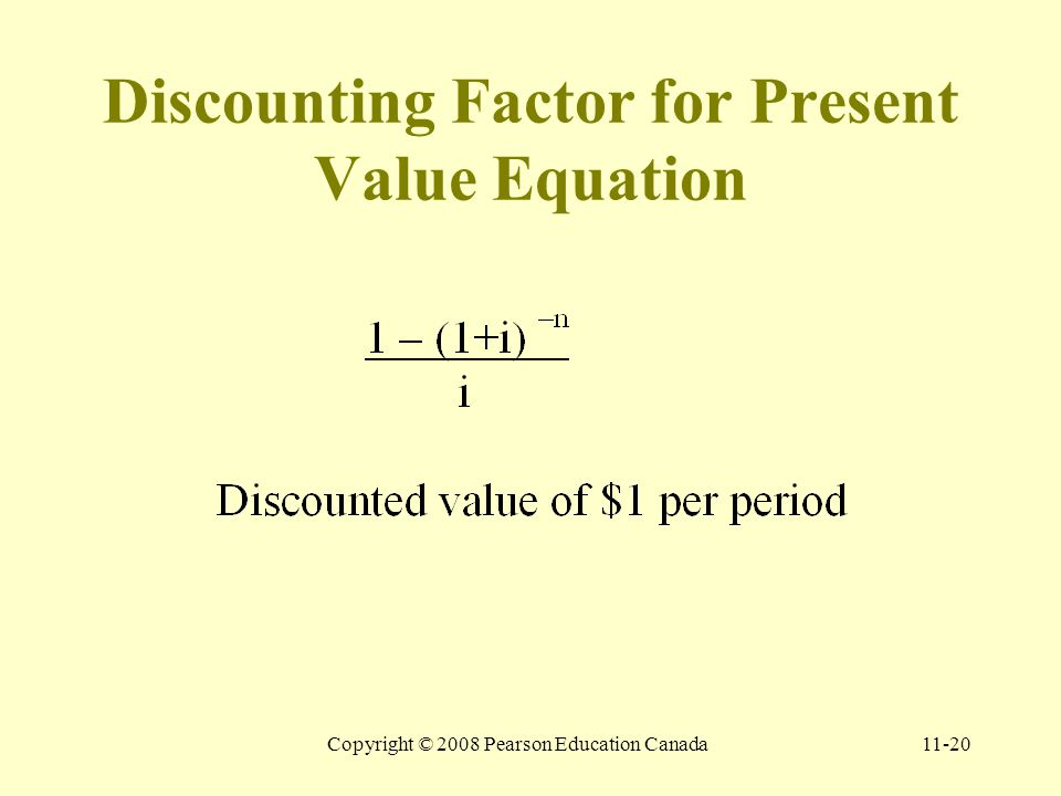 Copyright © 2008 Pearson Education Canada11-20 Discounting Factor for Present Value Equation