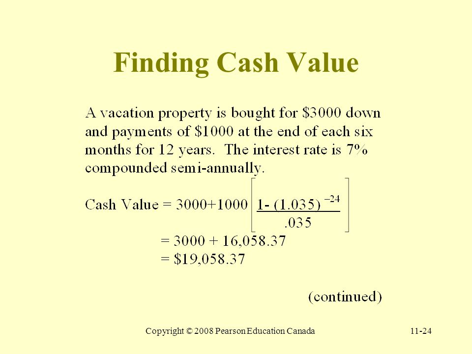 Copyright © 2008 Pearson Education Canada11-24 Finding Cash Value
