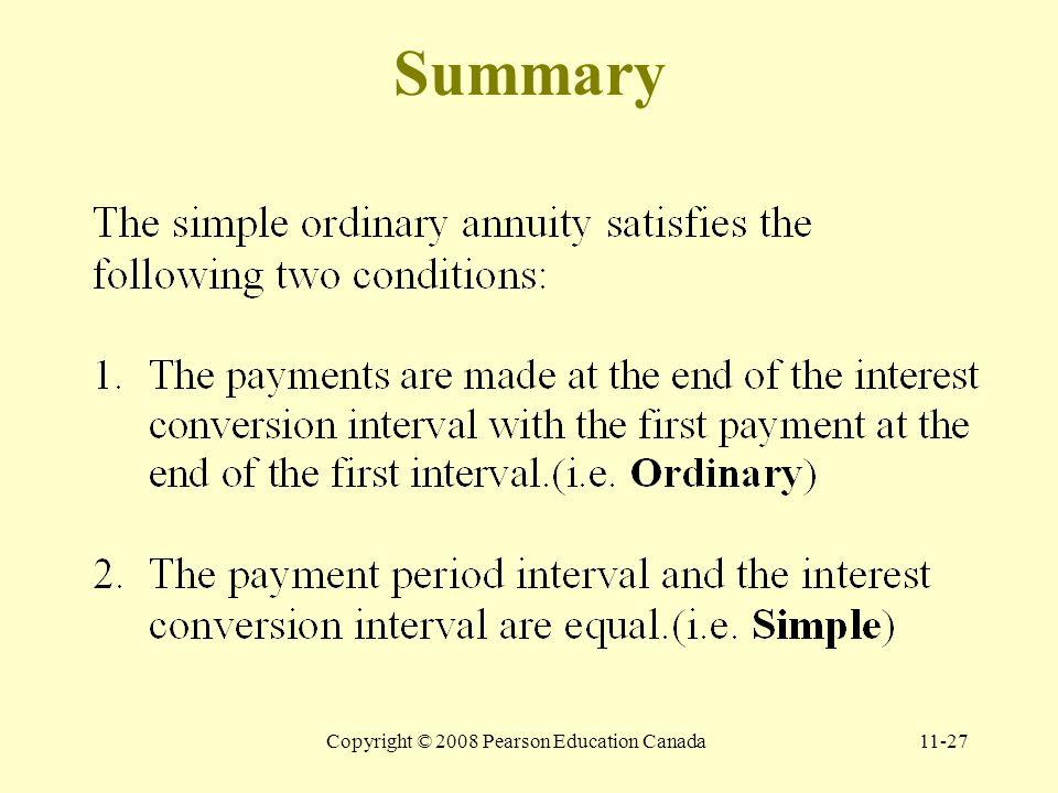 Copyright © 2008 Pearson Education Canada11-27 Summary