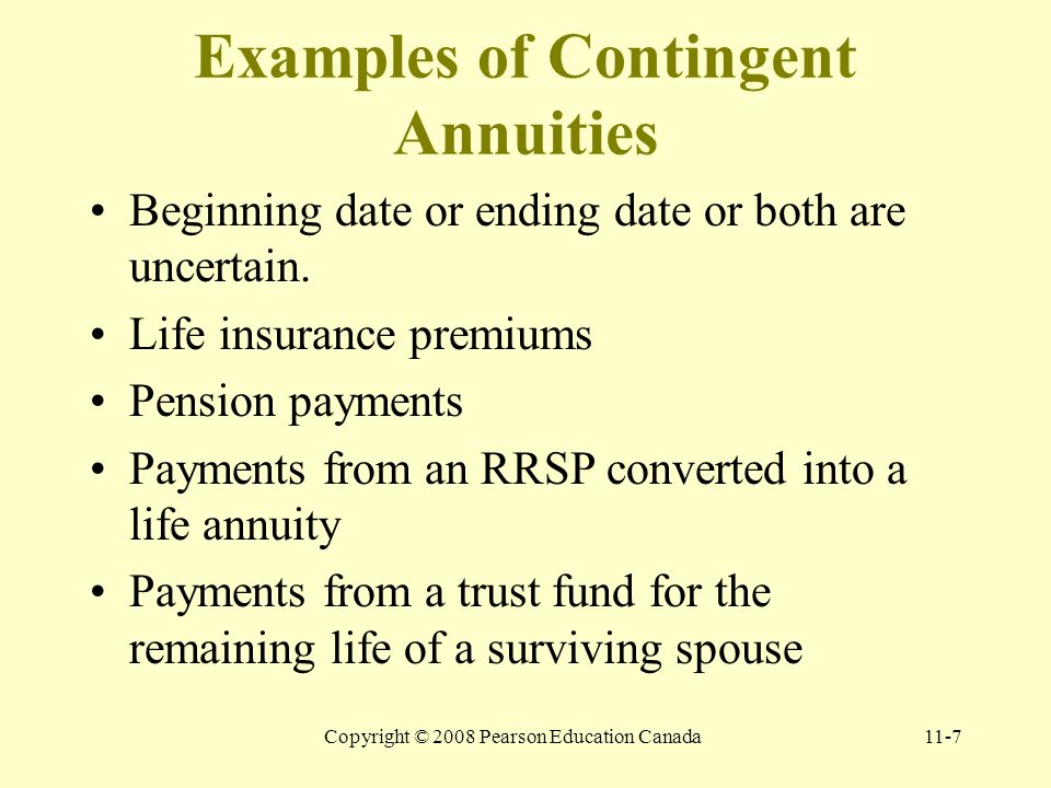 Copyright © 2008 Pearson Education Canada11-7 Examples of Contingent Annuities Beginning date or ending date or both are uncertain.