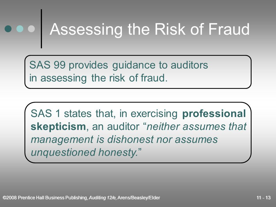 ©2008 Prentice Hall Business Publishing, Auditing 12/e, Arens/Beasley/Elder 11 - 13 Assessing the Risk of Fraud SAS 99 provides guidance to auditors in assessing the risk of fraud.
