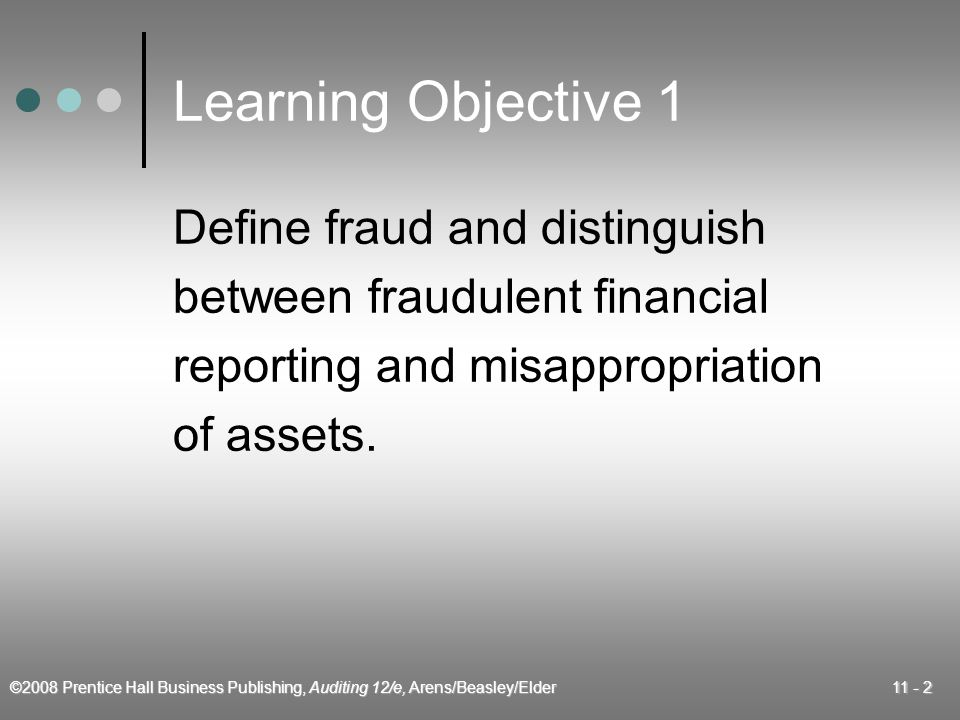 ©2008 Prentice Hall Business Publishing, Auditing 12/e, Arens/Beasley/Elder 11 - 3 Types of Fraud  Fraudulent financial reporting  Misappropriation of assets