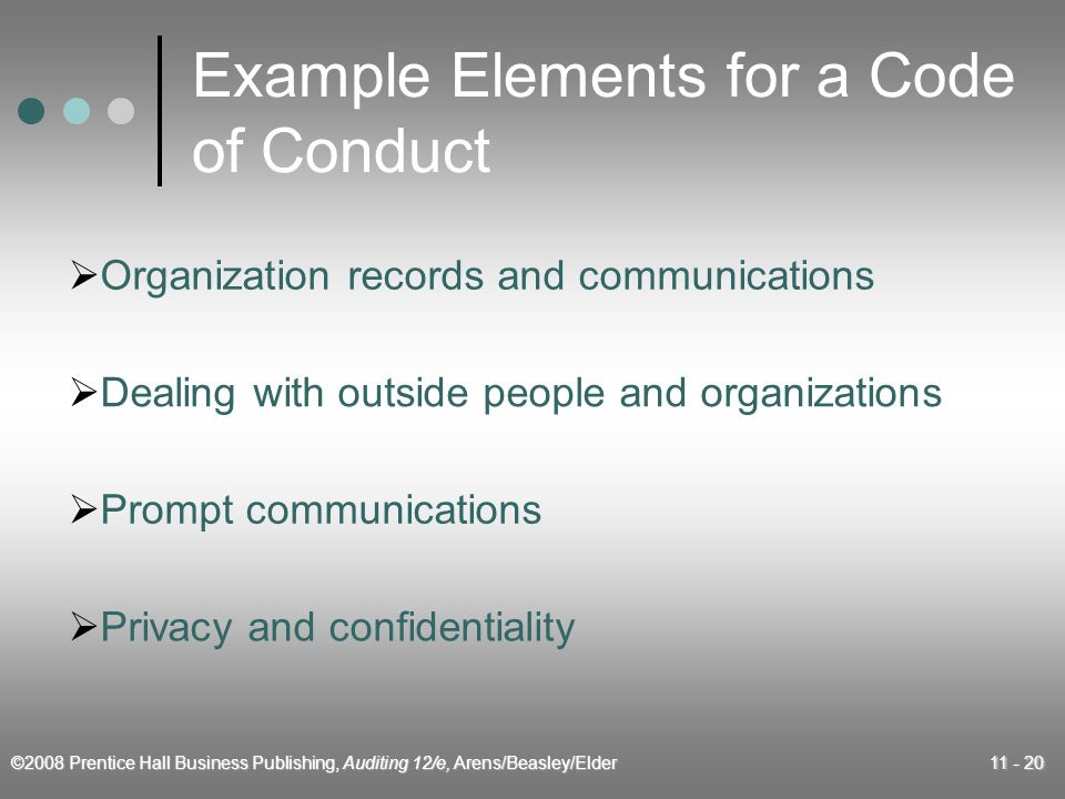 ©2008 Prentice Hall Business Publishing, Auditing 12/e, Arens/Beasley/Elder 11 - 20 Example Elements for a Code of Conduct  Organization records and communications  Dealing with outside people and organizations  Prompt communications  Privacy and confidentiality