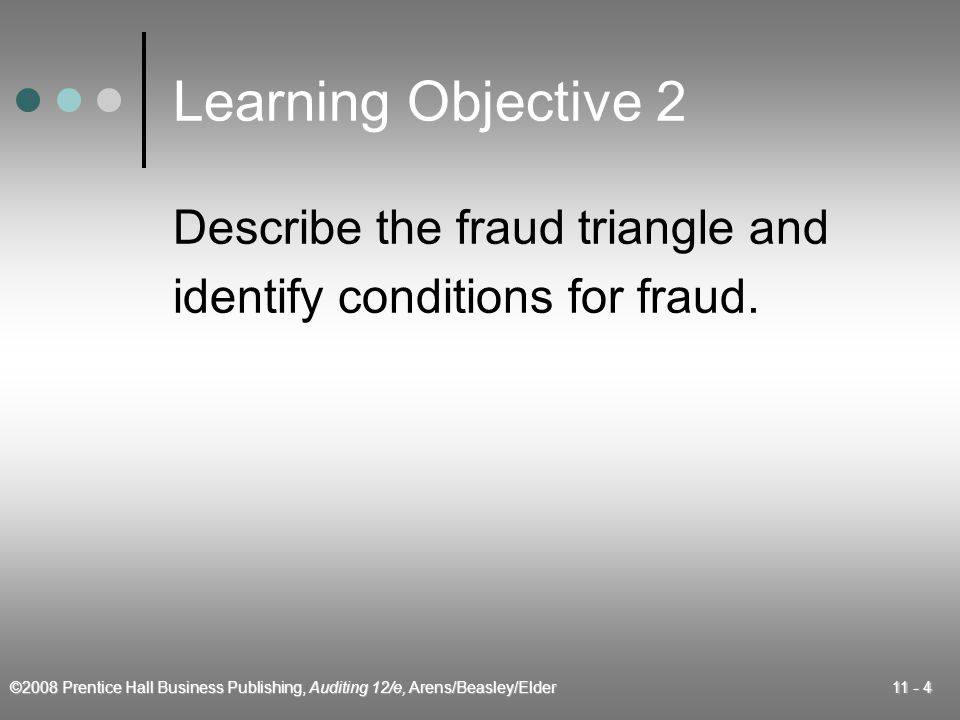 ©2008 Prentice Hall Business Publishing, Auditing 12/e, Arens/Beasley/Elder 11 - 4 Learning Objective 2 Describe the fraud triangle and identify conditions for fraud.