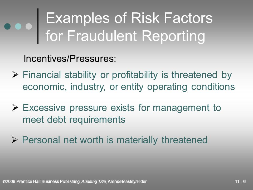 ©2008 Prentice Hall Business Publishing, Auditing 12/e, Arens/Beasley/Elder 11 - 27 Rates of Fraud Occurrence 20031998 Conflict of interest 12 9 Inventory theft 11 Kickbacks 9 6 Financial reporting fraud 7 3