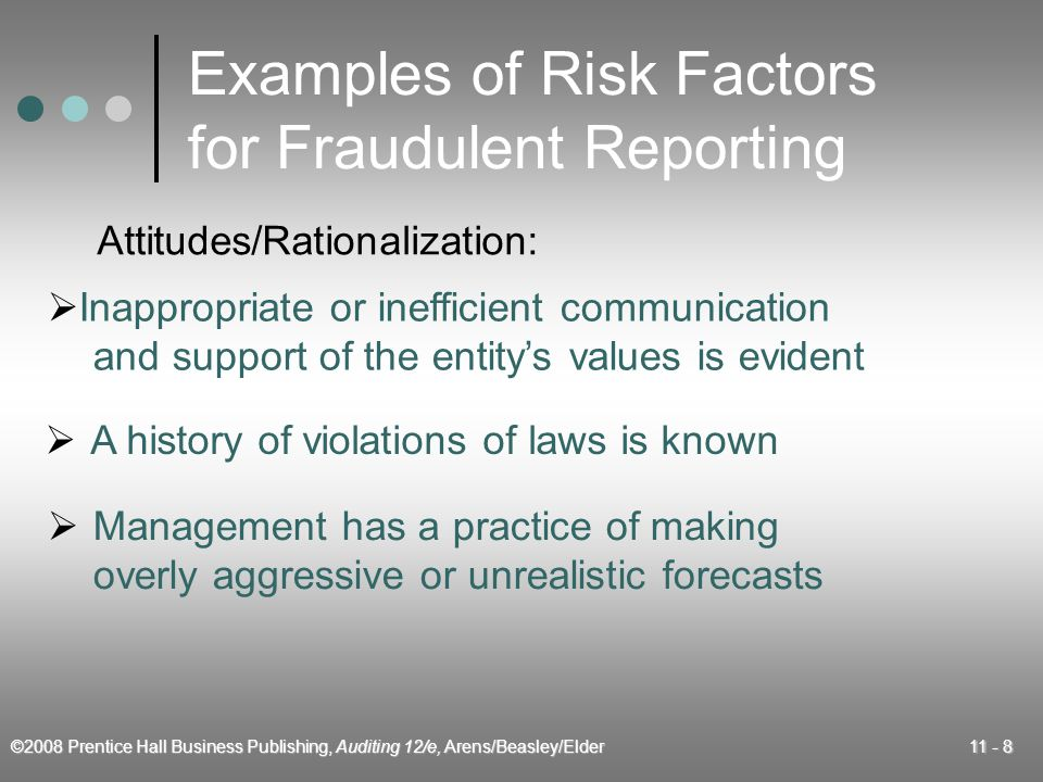 ©2008 Prentice Hall Business Publishing, Auditing 12/e, Arens/Beasley/Elder 11 - 9 Examples of Risk Factors for Misappropriation of Assets  Personal financial obligations create pressure to misappropriate assets  Adverse relationships between management and employees motivate employees to misappropriate assets Incentives/Pressures:
