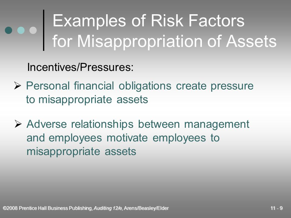 ©2008 Prentice Hall Business Publishing, Auditing 12/e, Arens/Beasley/Elder 11 - 9 Examples of Risk Factors for Misappropriation of Assets  Personal financial obligations create pressure to misappropriate assets  Adverse relationships between management and employees motivate employees to misappropriate assets Incentives/Pressures: