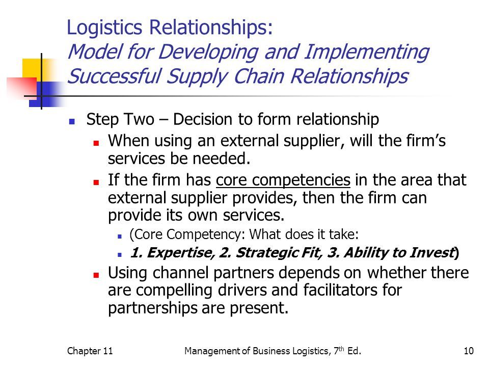 Chapter 11Management of Business Logistics, 7 th Ed.10 Logistics Relationships: Model for Developing and Implementing Successful Supply Chain Relation