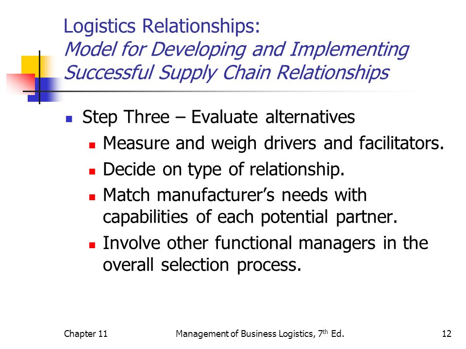 Chapter 11Management of Business Logistics, 7 th Ed.12 Logistics Relationships: Model for Developing and Implementing Successful Supply Chain Relation