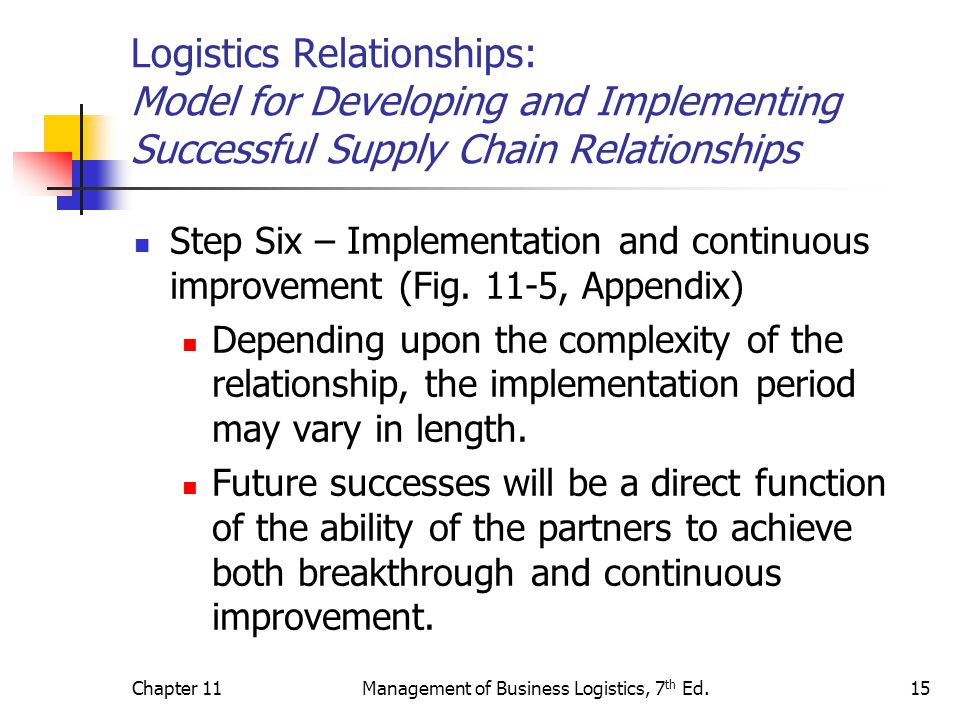 Chapter 11Management of Business Logistics, 7 th Ed.15 Logistics Relationships: Model for Developing and Implementing Successful Supply Chain Relation