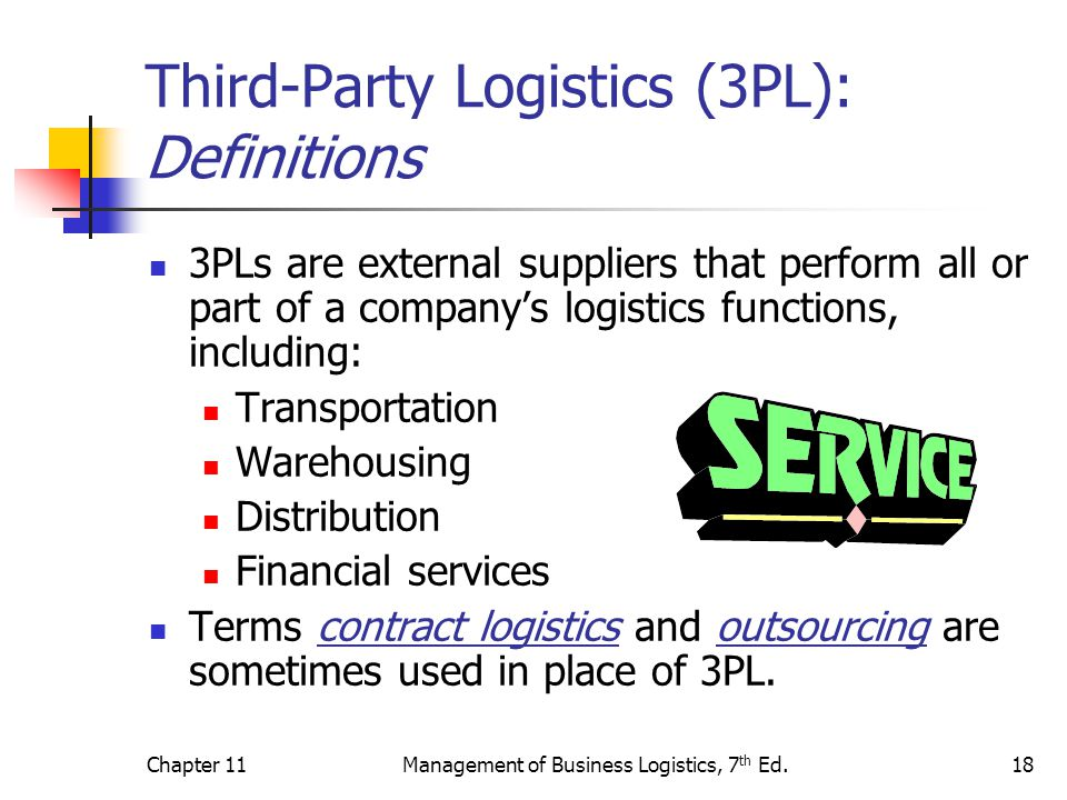 Chapter 11Management of Business Logistics, 7 th Ed.18 Third-Party Logistics (3PL): Definitions 3PLs are external suppliers that perform all or part o