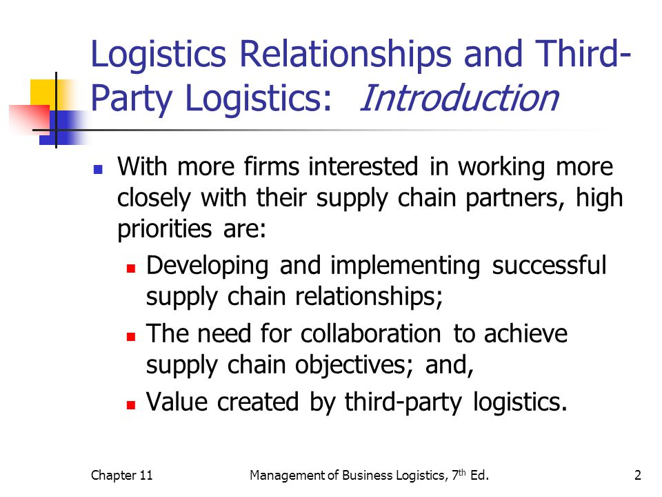 Chapter 11Management of Business Logistics, 7 th Ed.3 Logistics Relationships: Types of Relationships Vertical Refer to the traditional links between supply chain members such as retailers, distributors, manufacturers and suppliers.