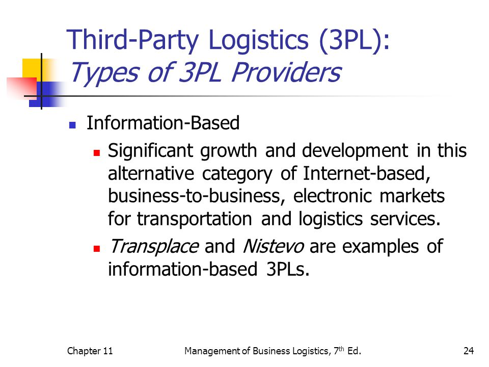 Chapter 11Management of Business Logistics, 7 th Ed.24 Third-Party Logistics (3PL): Types of 3PL Providers Information-Based Significant growth and de