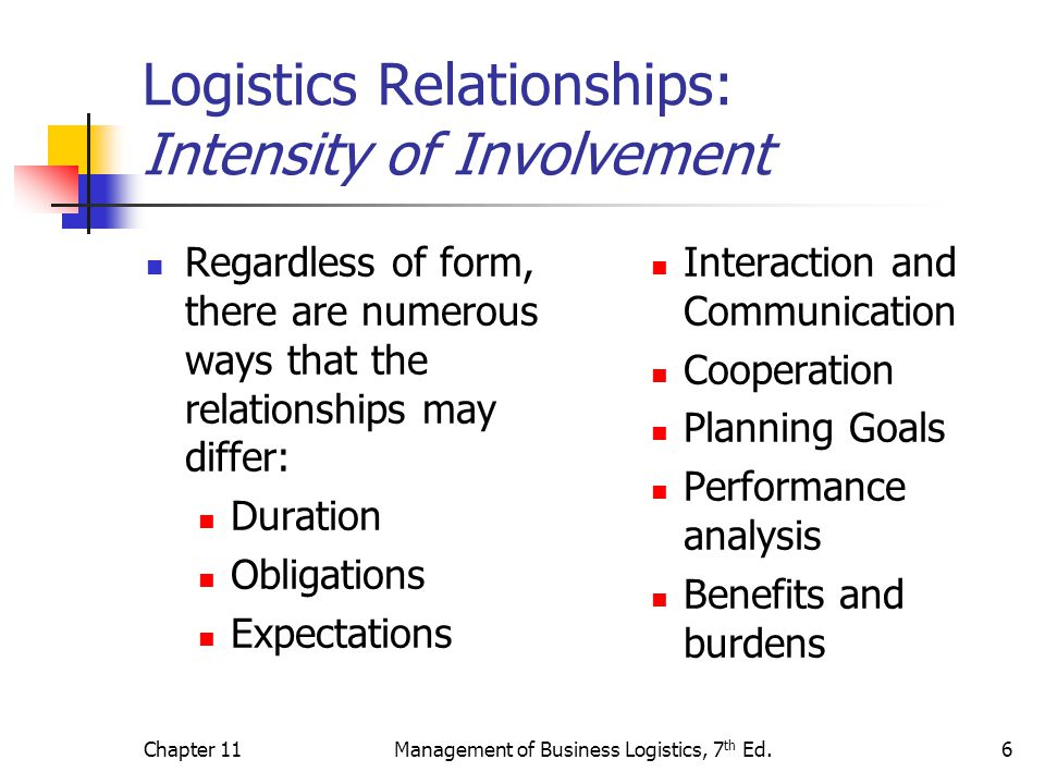 Chapter 11Management of Business Logistics, 7 th Ed.6 Logistics Relationships: Intensity of Involvement Regardless of form, there are numerous ways th