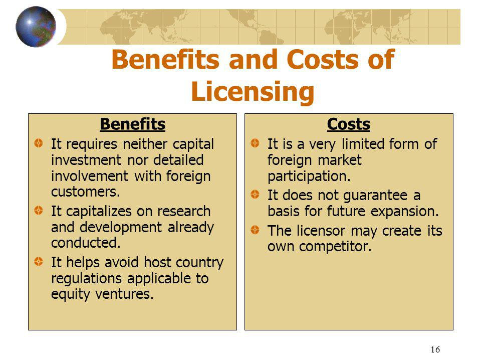16 Benefits and Costs of Licensing Benefits It requires neither capital investment nor detailed involvement with foreign customers.