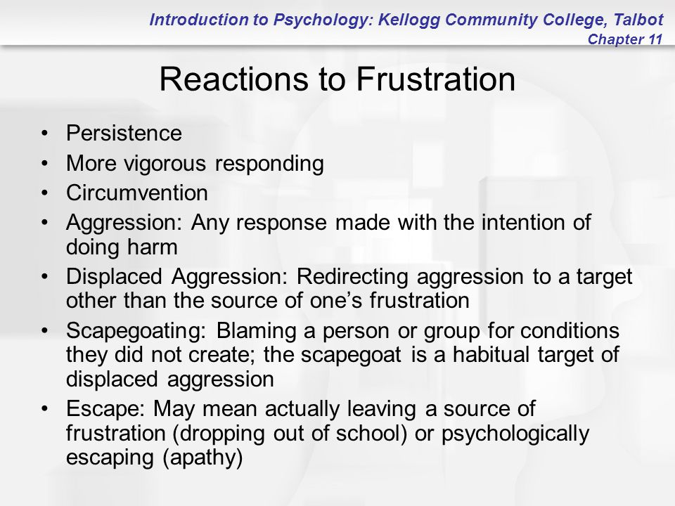 Introduction to Psychology: Kellogg Community College, Talbot Chapter 11 Reactions to Frustration Persistence More vigorous responding Circumvention A