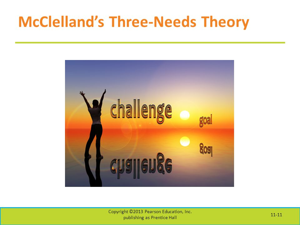 McClelland's Three-Needs Theory Copyright ©2013 Pearson Education, Inc.