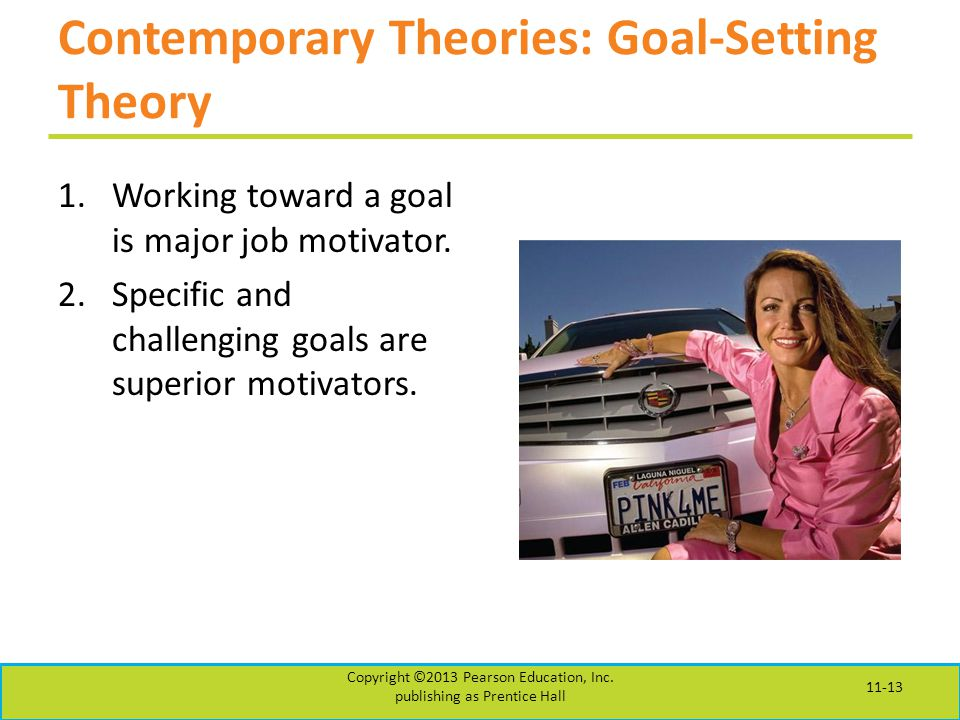 Contemporary Theories: Goal-Setting Theory 1.Working toward a goal is major job motivator.