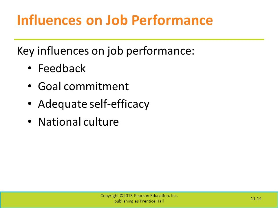 Influences on Job Performance Key influences on job performance: Feedback Goal commitment Adequate self-efficacy National culture Copyright ©2013 Pearson Education, Inc.