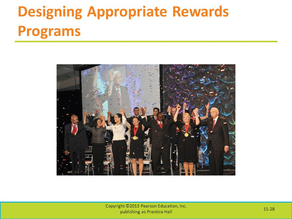 Designing Appropriate Rewards Programs Copyright ©2013 Pearson Education, Inc.