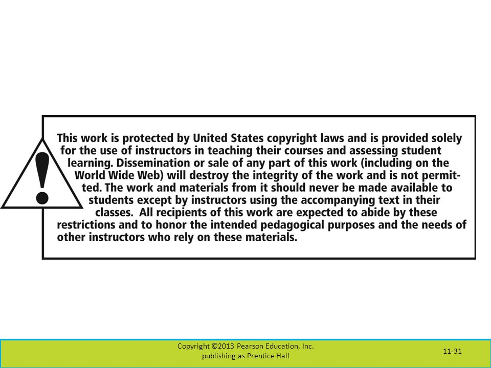 Copyright ©2013 Pearson Education, Inc. publishing as Prentice Hall 11-31